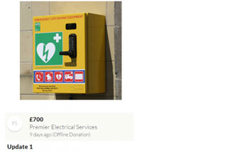 Premier make a donation towards a defibrillator fund for village of Belton